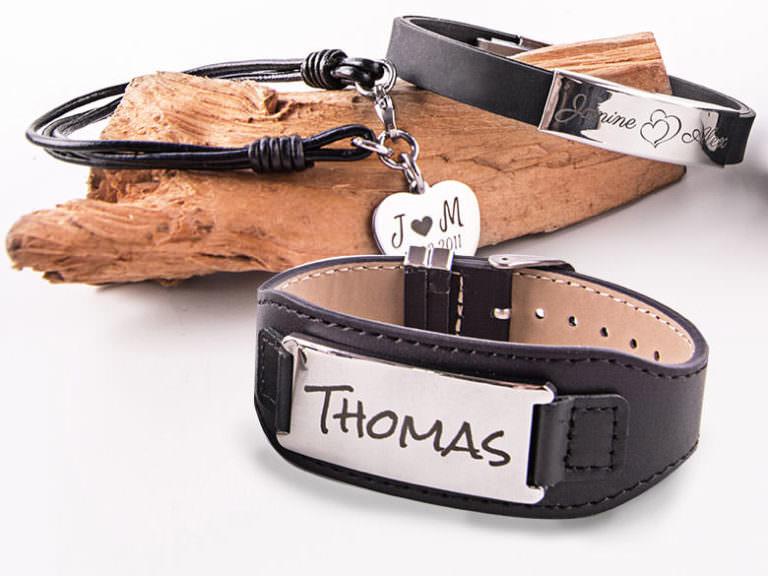 Armband mit Gravur Sortiment Leder und Kautschuk