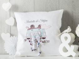Personalisiertes Hochzeitskissen als Geldgeschenk, Hochzeitsauto Motiv