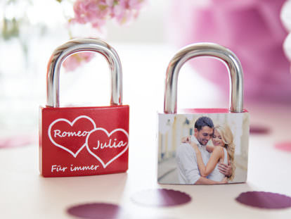 Personalisiertes Liebesschloss bedruckt Hochzeit