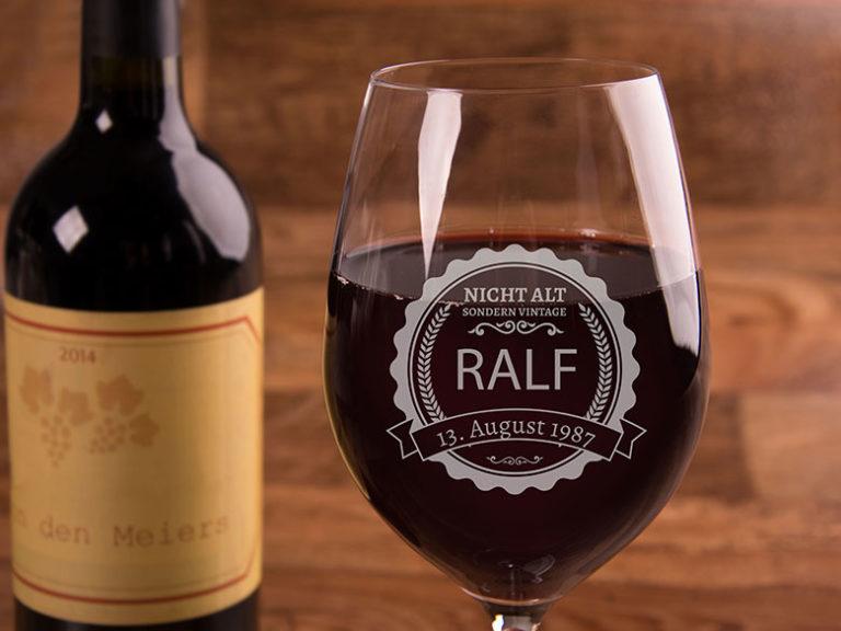 Gravur Weinglas