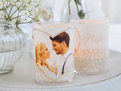 Windlicht mit Foto Hochzeit