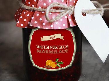 Weihnachtsetikett für Marmelade