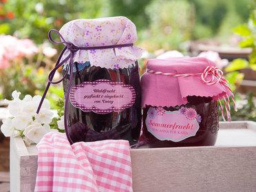 Marmeladenetiketten mit Haube