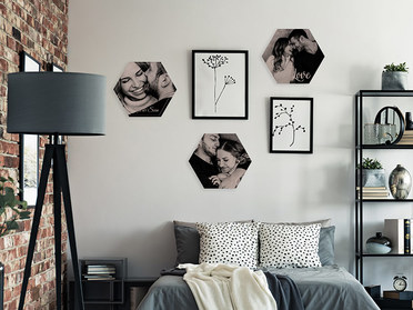 Wanddeko Holzkachel mit Foto