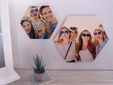 Hexagon Holzbild Freunde